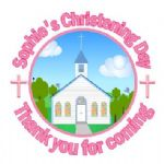 Personalised Girl Christening Sticker Design 1